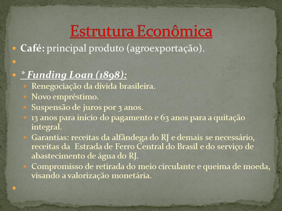 Café: principal produto (agroexportação). * Funding Loan (1898): Renegociação da dívida brasileira. Novo empréstimo. Suspensão de juros por 3 anos. 13