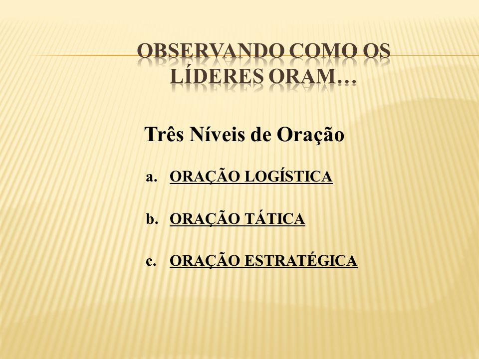 Três Níveis de Oração a.ORAÇÃO LOGÍSTICA b.ORAÇÃO TÁTICA c.ORAÇÃO ESTRATÉGICA