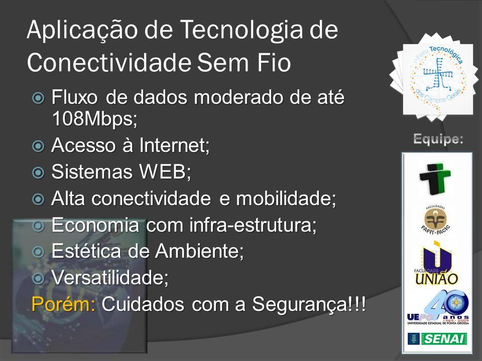 Aplicação de Tecnologia de Conectividade Sem Fio Fluxo de dados moderado de até 108Mbps; Fluxo de dados moderado de até 108Mbps; Acesso à Internet; Ac