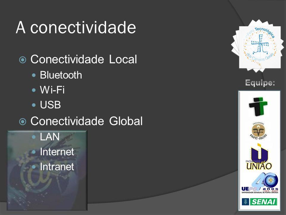 A conectividade Conectividade Local Bluetooth Wi-Fi USB Conectividade Global LAN Internet Intranet