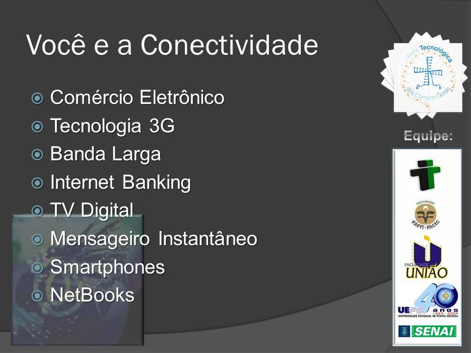 Você e a Conectividade Comércio Eletrônico Comércio Eletrônico Tecnologia 3G Tecnologia 3G Banda Larga Banda Larga Internet Banking Internet Banking T