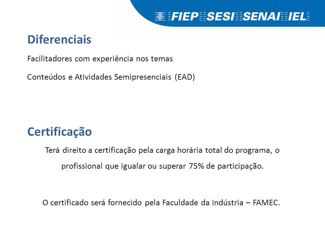 Diferenciais Facilitadores com experiência nos temas Conteúdos e Atividades Semipresenciais (EAD) Terá direito a certificação pela carga horária total