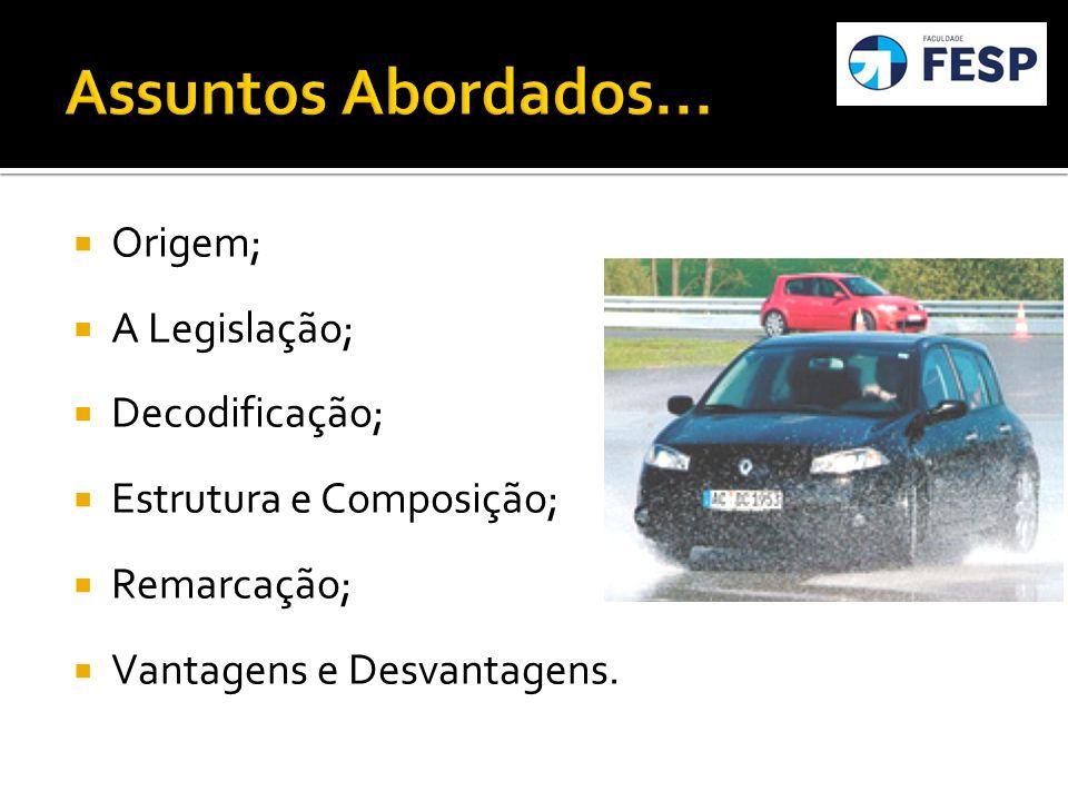 Origem; A Legislação; Decodificação; Estrutura e Composição; Remarcação; Vantagens e Desvantagens.