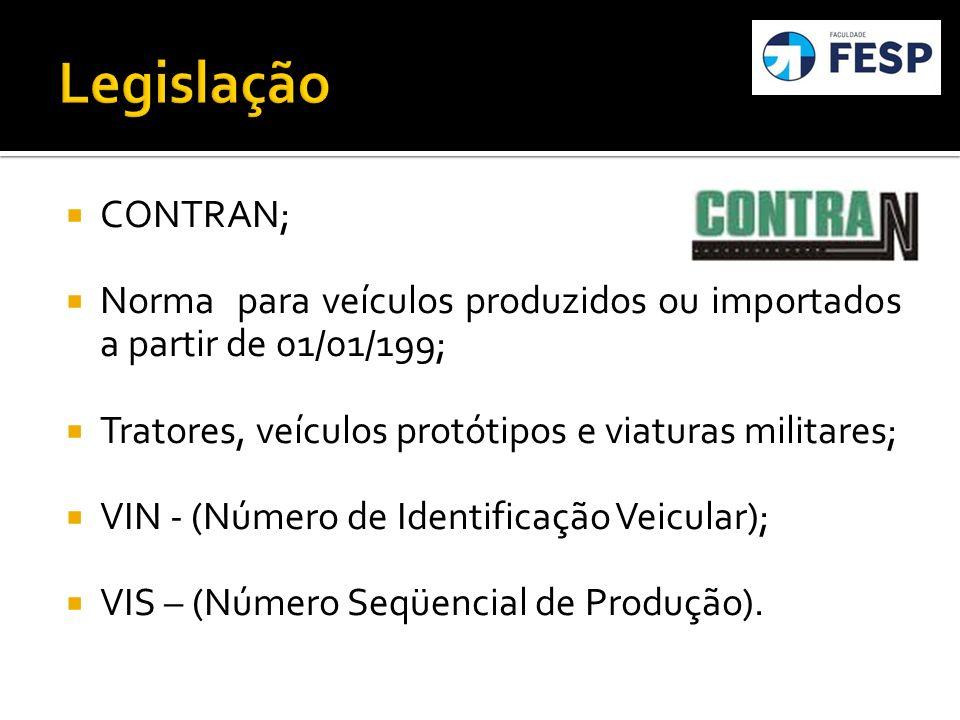 CONTRAN; Norma para veículos produzidos ou importados a partir de 01/01/199; Tratores, veículos protótipos e viaturas militares; VIN - (Número de Iden