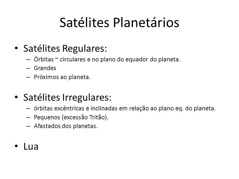 Satélites Planetários Satélites Regulares: – Órbitas ~ circulares e no plano do equador do planeta. – Grandes – Próximos ao planeta. Satélites Irregul