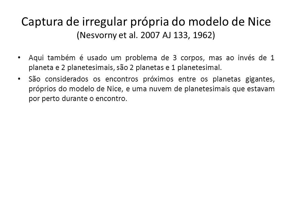 Captura de irregular própria do modelo de Nice (Nesvorny et al. 2007 AJ 133, 1962) Aqui também é usado um problema de 3 corpos, mas ao invés de 1 plan