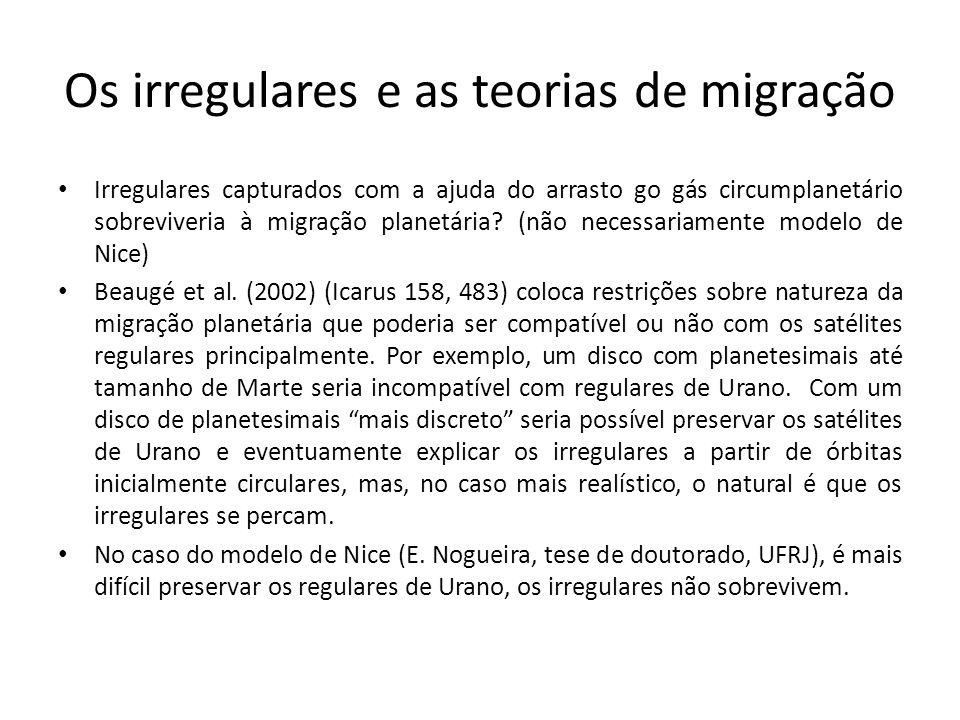 Os irregulares como produto de captura durante a migração planetária Qualquer modelo de migração: – Captura de componente de planetesimal binário durante a migração (E.