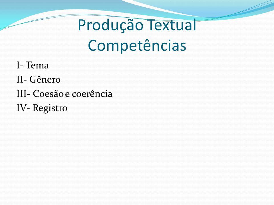 Produção Textual Competências I- Tema II- Gênero III- Coesão e coerência IV- Registro
