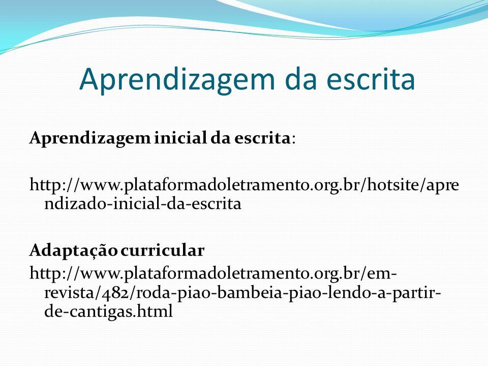 Aprendizagem da escrita Aprendizagem inicial da escrita: http://www.plataformadoletramento.org.br/hotsite/apre ndizado-inicial-da-escrita Adaptação cu