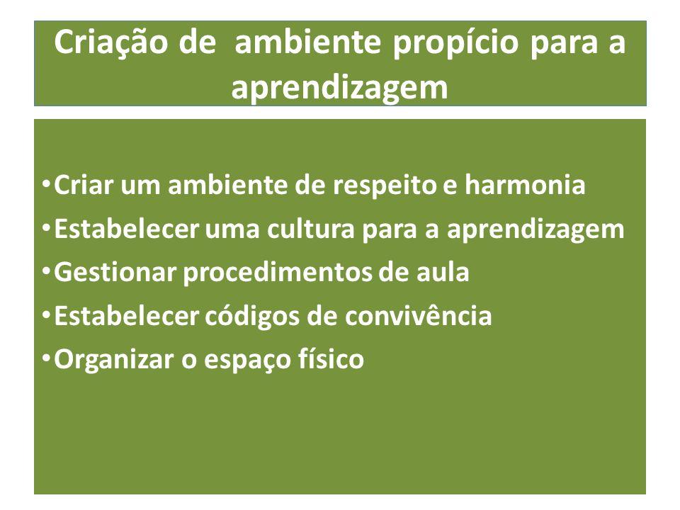 Criação de ambiente propício para a aprendizagem Criar um ambiente de respeito e harmonia Estabelecer uma cultura para a aprendizagem Gestionar procedimentos de aula Estabelecer códigos de convivência Organizar o espaço físico