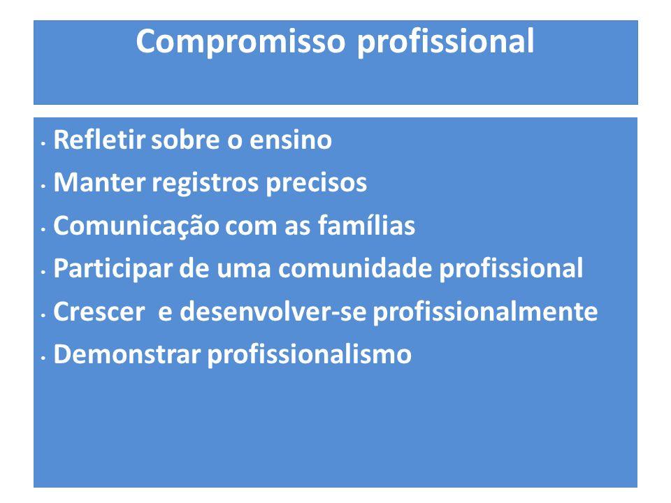 Compromisso profissional Refletir sobre o ensino Manter registros precisos Comunicação com as famílias Participar de uma comunidade profissional Crescer e desenvolver-se profissionalmente Demonstrar profissionalismo