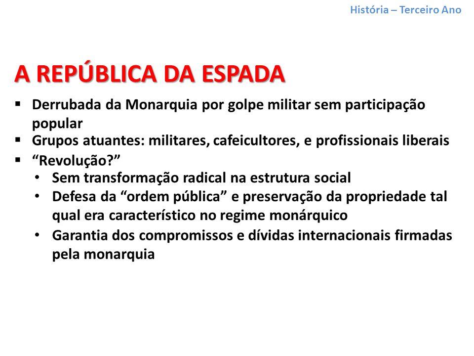 História – Terceiro Ano Derrubada da Monarquia por golpe militar sem participação popular Grupos atuantes: militares, cafeicultores, e profissionais liberais A REPÚBLICA DA ESPADA Revolução.