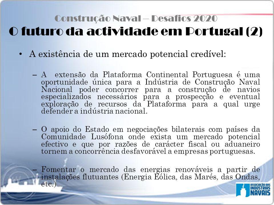 Construção Naval – Desafios 2020 O futuro da actividade em Portugal (2) A existência de um mercado potencial credível: – A extensão da Plataforma Cont