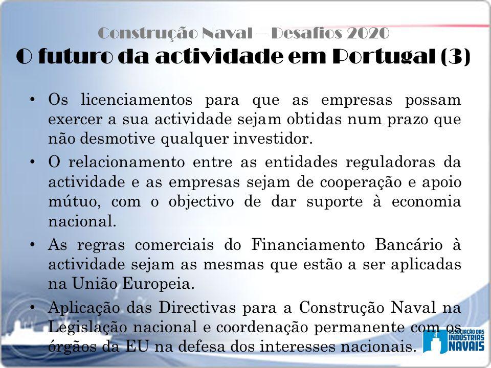 Construção Naval – Desafios 2020 O futuro da actividade em Portugal (3) Os licenciamentos para que as empresas possam exercer a sua actividade sejam o