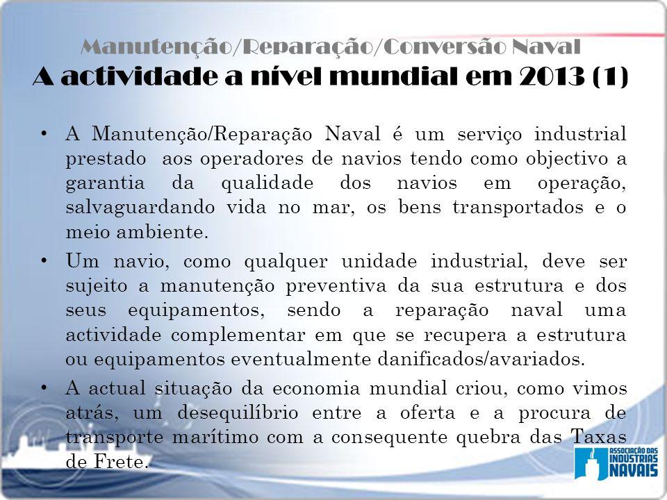 Manutenção/Reparação/Conversão Naval A actividade a nível mundial em 2013 (1) A Manutenção/Reparação Naval é um serviço industrial prestado aos operad