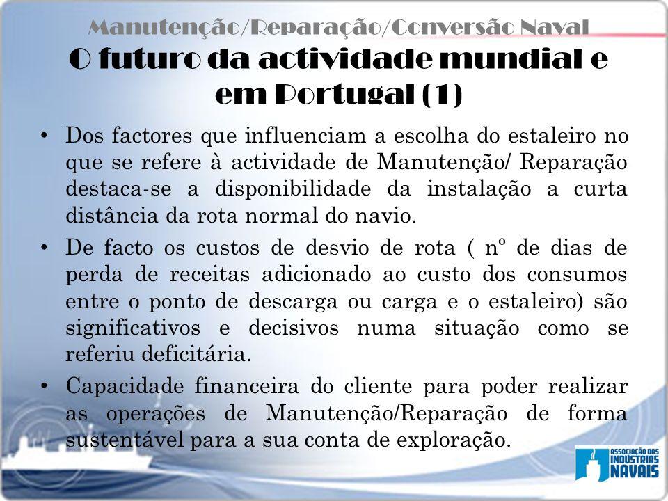 Manutenção/Reparação/Conversão Naval O futuro da actividade mundial e em Portugal (1) Dos factores que influenciam a escolha do estaleiro no que se re