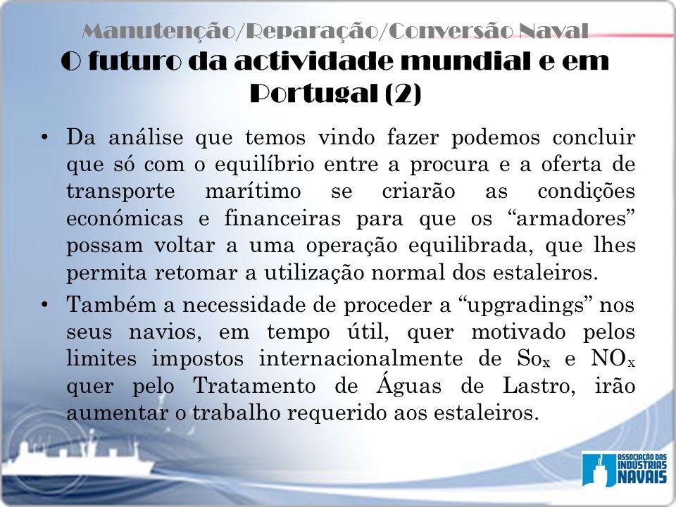 Manutenção/Reparação/Conversão Naval O futuro da actividade mundial e em Portugal (2) Da análise que temos vindo fazer podemos concluir que só com o e