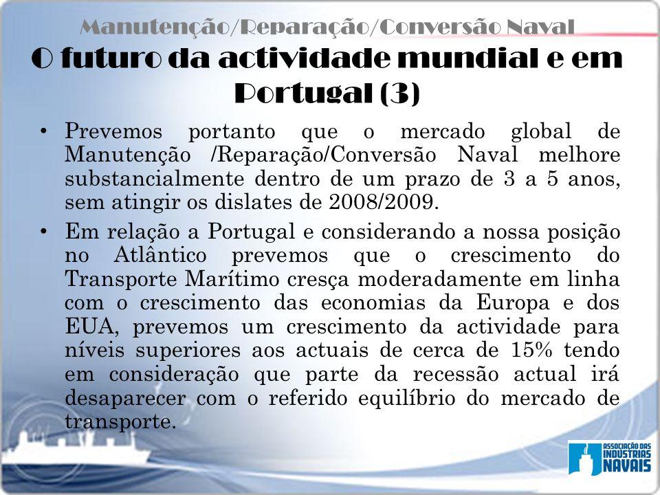 Manutenção/Reparação/Conversão Naval O futuro da actividade mundial e em Portugal (3) Prevemos portanto que o mercado global de Manutenção /Reparação/