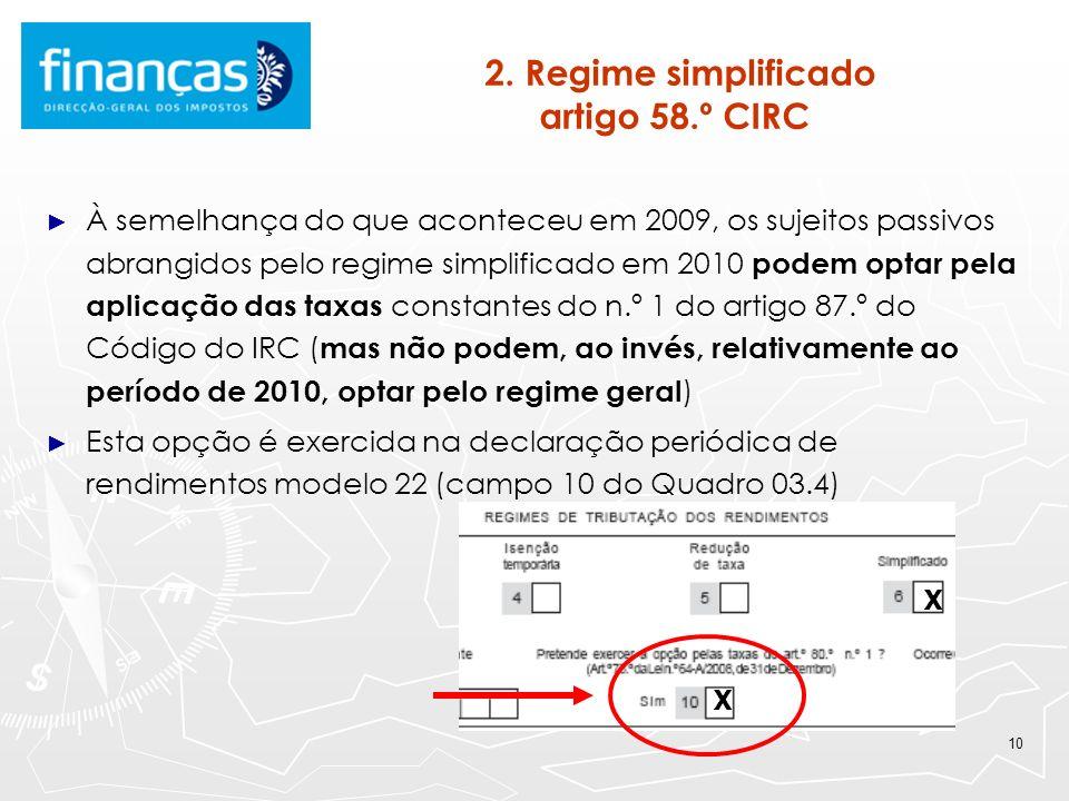 10 2. Regime simplificado artigo 58.º CIRC À semelhança do que aconteceu em 2009, os sujeitos passivos abrangidos pelo regime simplificado em 2010 pod