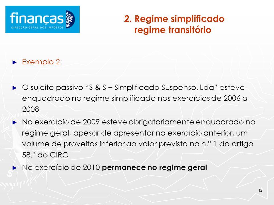 12 2. Regime simplificado regime transitório Exemplo 2: O sujeito passivo S & S – Simplificado Suspenso, Lda esteve enquadrado no regime simplificado