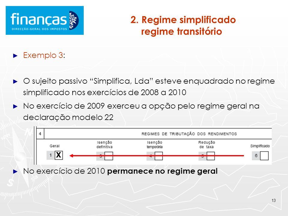 13 2. Regime simplificado regime transitório Exemplo 3: O sujeito passivo Simplifica, Lda esteve enquadrado no regime simplificado nos exercícios de 2