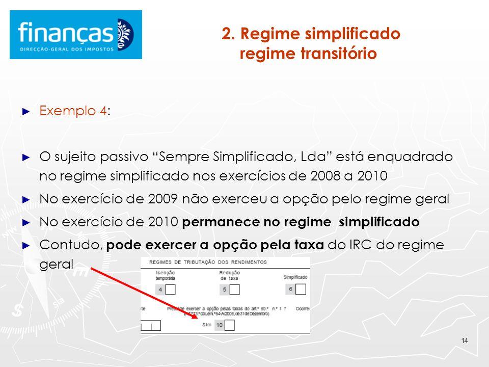 14 2. Regime simplificado regime transitório Exemplo 4: O sujeito passivo Sempre Simplificado, Lda está enquadrado no regime simplificado nos exercíci
