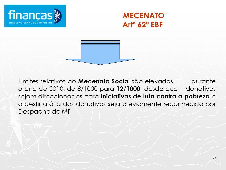 27 MECENATO Artº 62º EBF Limites relativos ao Mecenato Social são elevados, durante o ano de 2010, de 8/1000 para 12/1000, desde que donativos sejam d