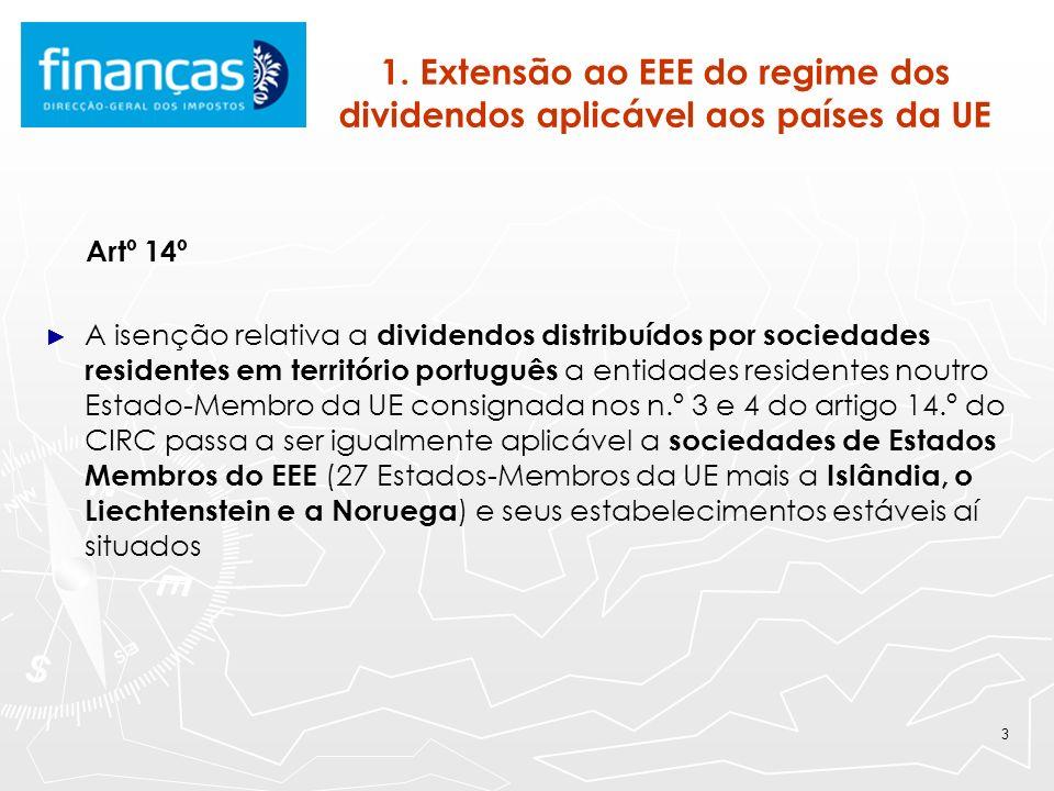 3 1. Extensão ao EEE do regime dos dividendos aplicável aos países da UE Artº 14º A isenção relativa a dividendos distribuídos por sociedades resident