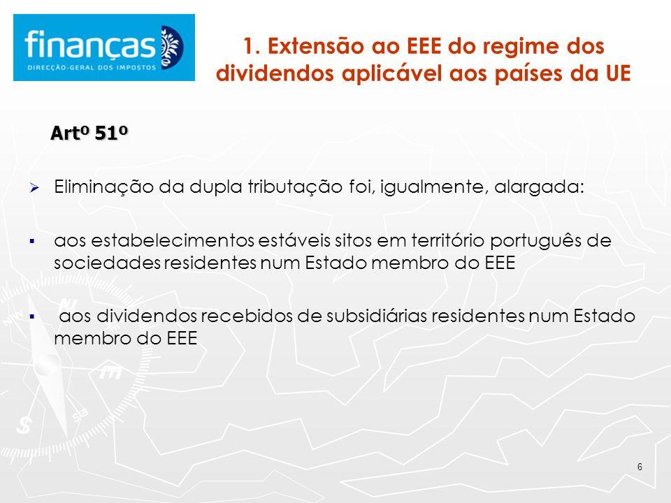 6 1. Extensão ao EEE do regime dos dividendos aplicável aos países da UE Artº 51º Artº 51º Eliminação da dupla tributação foi, igualmente, alargada: a