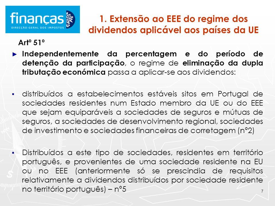 7 1. Extensão ao EEE do regime dos dividendos aplicável aos países da UE Artº 51º Independentemente da percentagem e do período de detenção da partici