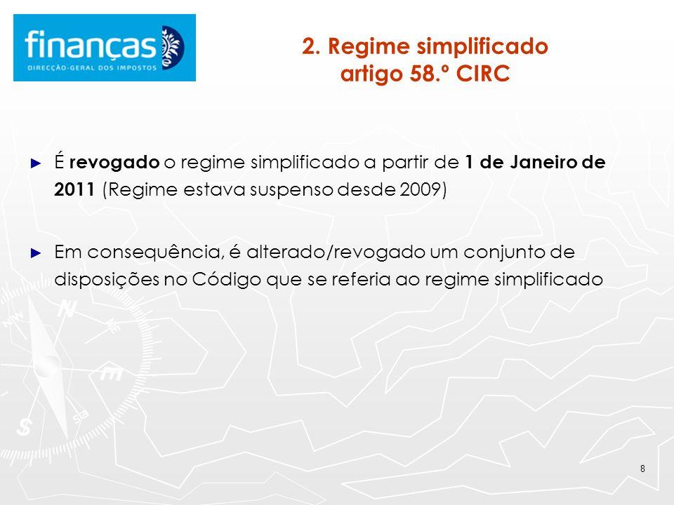 8 2. Regime simplificado artigo 58.º CIRC É revogado o regime simplificado a partir de 1 de Janeiro de 2011 (Regime estava suspenso desde 2009) Em con