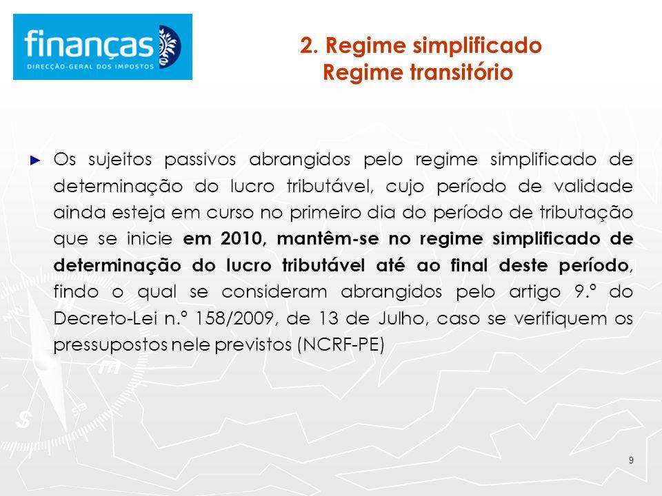 9 2. Regime simplificado Regime transitório Os sujeitos passivos abrangidos pelo regime simplificado de determinação do lucro tributável, cujo período