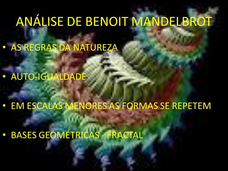 ANÁLISE DE BENOIT MANDELBROT AS REGRAS DA NATUREZA AUTO-IGUALDADE EM ESCALAS MENORES AS FORMAS SE REPETEM BASES GEOMÉTRICAS - FRACTAL