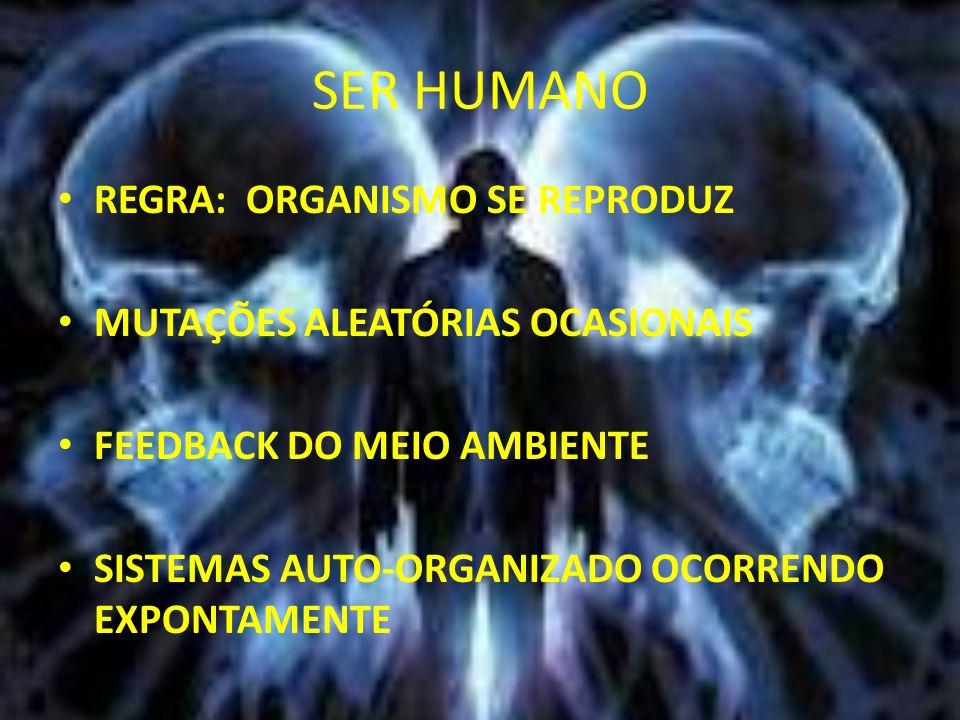 SER HUMANO REGRA: ORGANISMO SE REPRODUZ MUTAÇÕES ALEATÓRIAS OCASIONAIS FEEDBACK DO MEIO AMBIENTE SISTEMAS AUTO-ORGANIZADO OCORRENDO EXPONTAMENTE