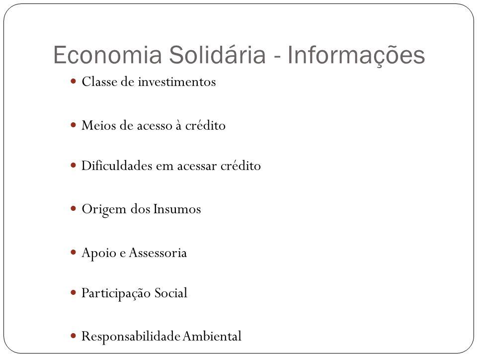 Economia Solidária - Informações Classe de investimentos Meios de acesso à crédito Dificuldades em acessar crédito Origem dos Insumos Apoio e Assessoria Participação Social Responsabilidade Ambiental