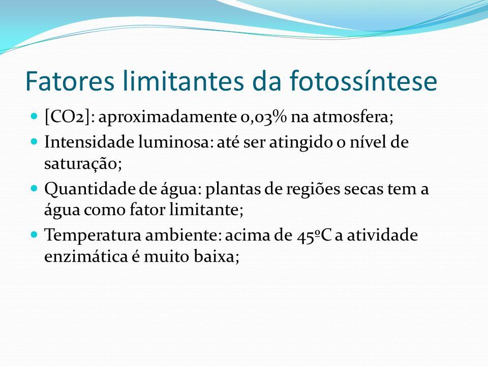 Fatores limitantes da fotossíntese [CO2]: aproximadamente 0,03% na atmosfera; Intensidade luminosa: até ser atingido o nível de saturação; Quantidade de água: plantas de regiões secas tem a água como fator limitante; Temperatura ambiente: acima de 45ºC a atividade enzimática é muito baixa;