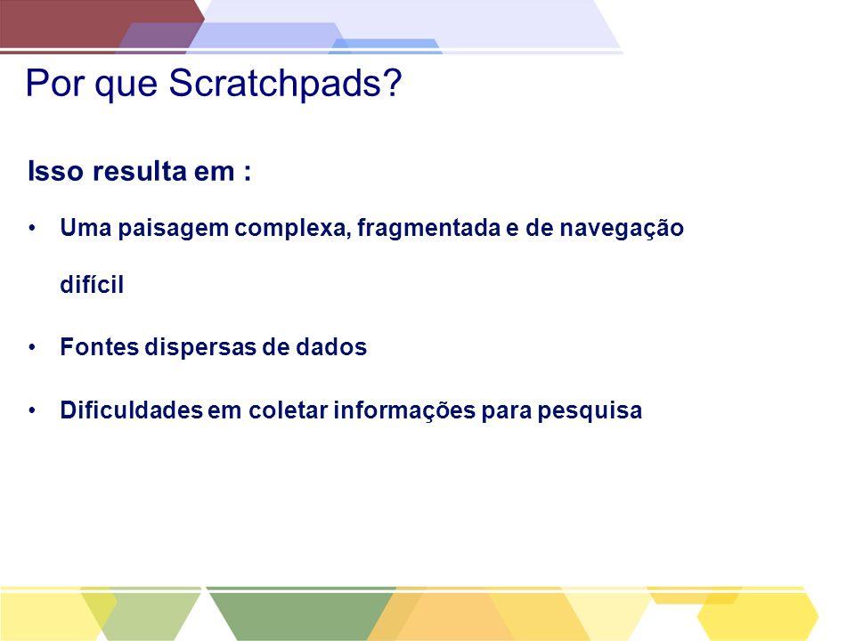 Por que Scratchpads? Isso resulta em : Uma paisagem complexa, fragmentada e de navegação difícil Fontes dispersas de dados Dificuldades em coletar inf