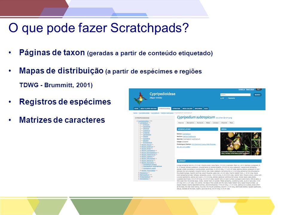 O que pode fazer Scratchpads? Páginas de taxon (geradas a partir de conteúdo etiquetado) Mapas de distribuição (a partir de espécimes e regiões TDWG -