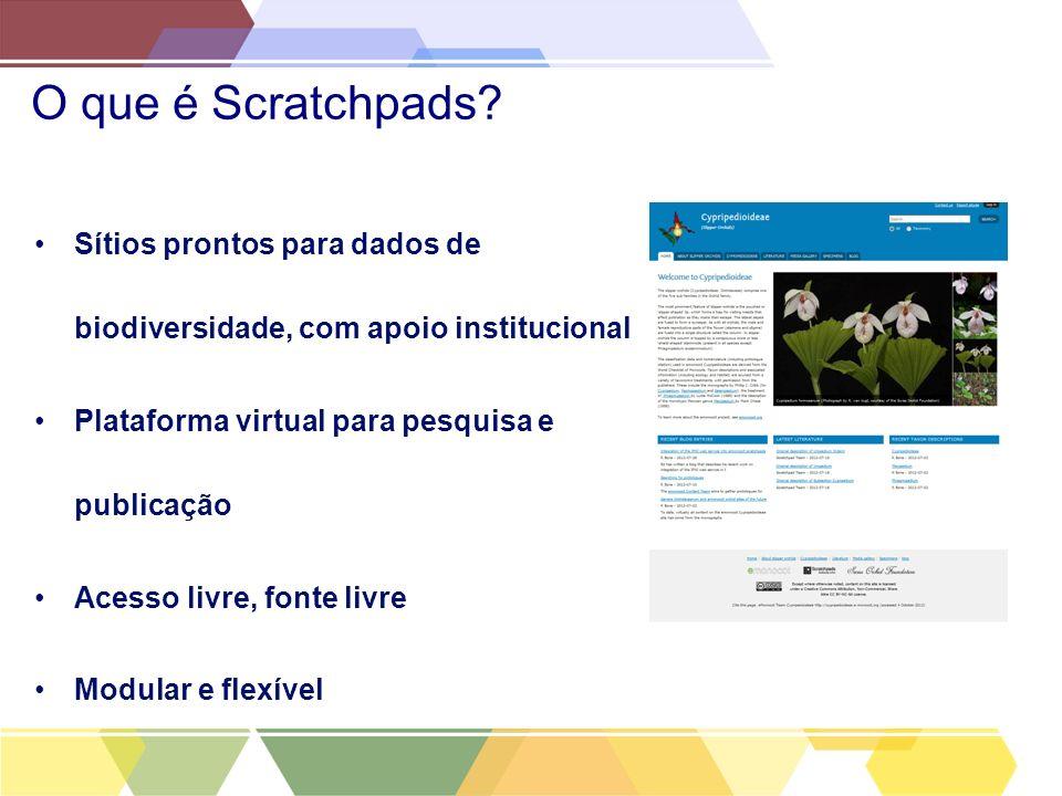 O que é Scratchpads? Sítios prontos para dados de biodiversidade, com apoio institucional Plataforma virtual para pesquisa e publicação Acesso livre,