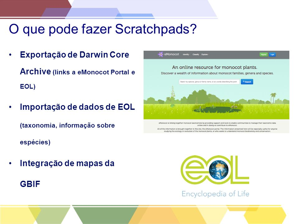 O que pode fazer Scratchpads? Exportação de Darwin Core Archive (links a eMonocot Portal e EOL) Importação de dados de EOL (taxonomia, informação sobr