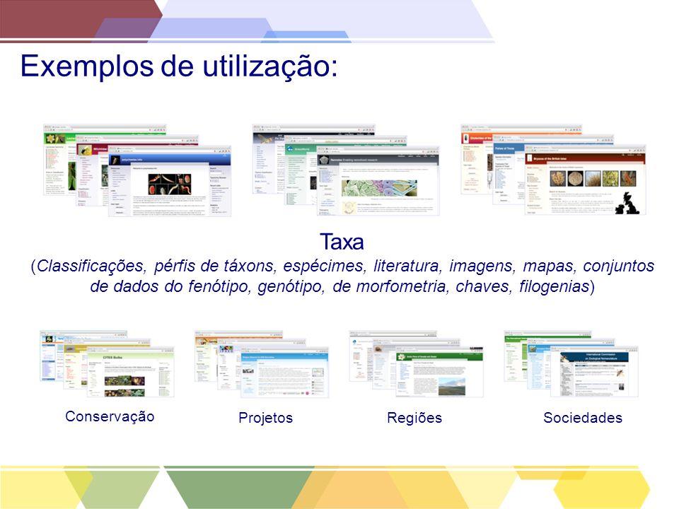 Exemplos de utilização: Taxa (Classificações, pérfis de táxons, espécimes, literatura, imagens, mapas, conjuntos de dados do fenótipo, genótipo, de mo