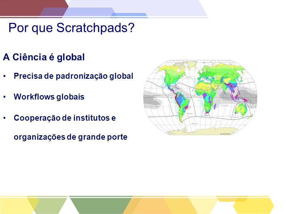 Por que Scratchpads? A Ciência é global Precisa de padronização global Workflows globais Cooperação de institutos e organizações de grande porte