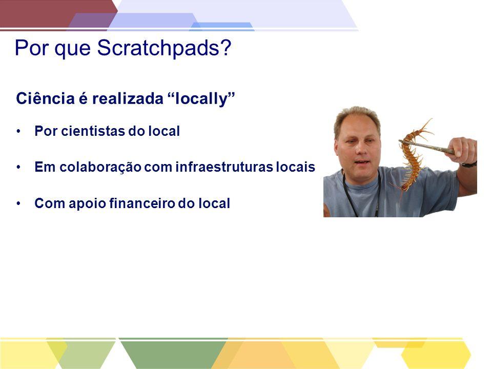 Por que Scratchpads? Ciência é realizada locally Por cientistas do local Em colaboração com infraestruturas locais Com apoio financeiro do local