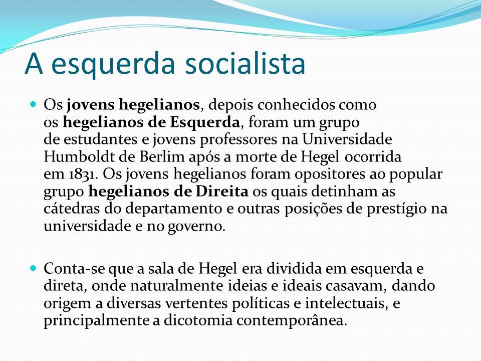 A esquerda socialista Os jovens hegelianos, depois conhecidos como os hegelianos de Esquerda, foram um grupo de estudantes e jovens professores na Uni