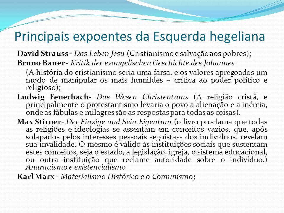 Principais expoentes da Esquerda hegeliana David Strauss - Das Leben Jesu (Cristianismo e salvação aos pobres); Bruno Bauer - Kritik der evangelischen
