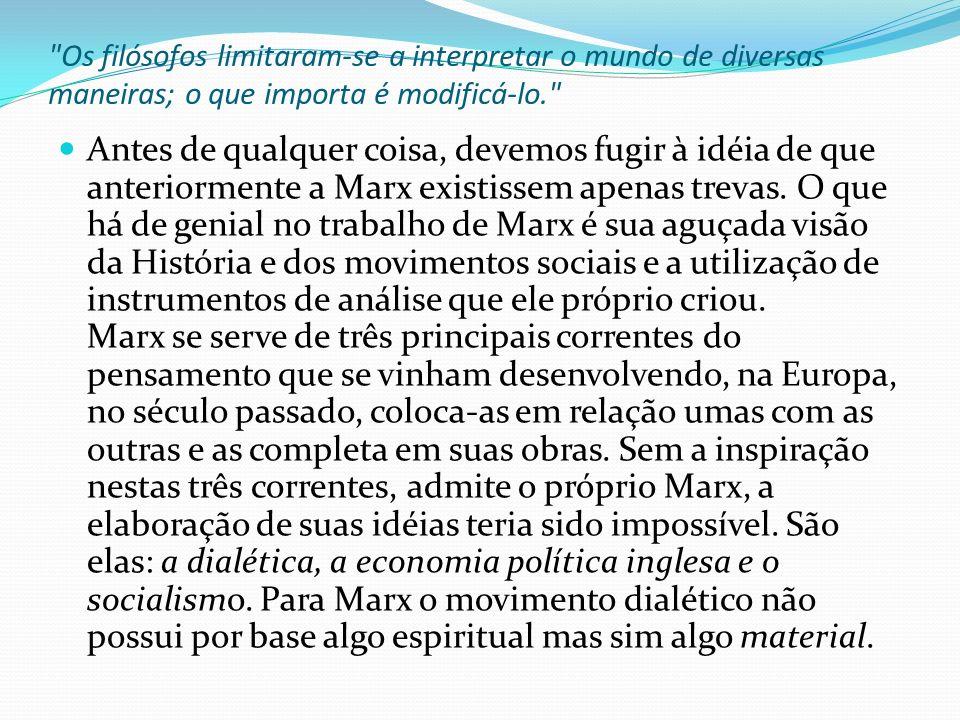 O materialismo dialético é o conceito central da filosofia marxista, mas Marx não se contentou em introduzir esta importante modificação apenas no terreno da filosofia.