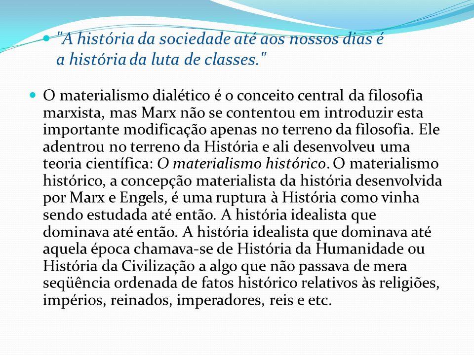 O materialismo dialético é o conceito central da filosofia marxista, mas Marx não se contentou em introduzir esta importante modificação apenas no ter