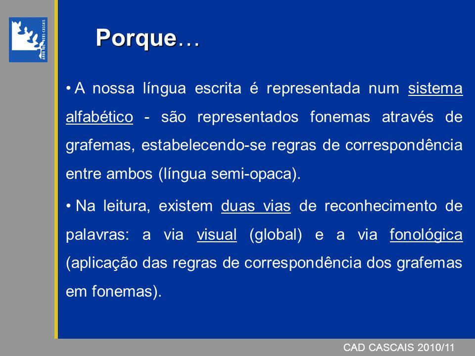 CAD CASCAIS 2007/08CAD CASCAIS 2010/11 A nossa língua escrita é representada num sistema alfabético - são representados fonemas através de grafemas, estabelecendo-se regras de correspondência entre ambos (língua semi-opaca).