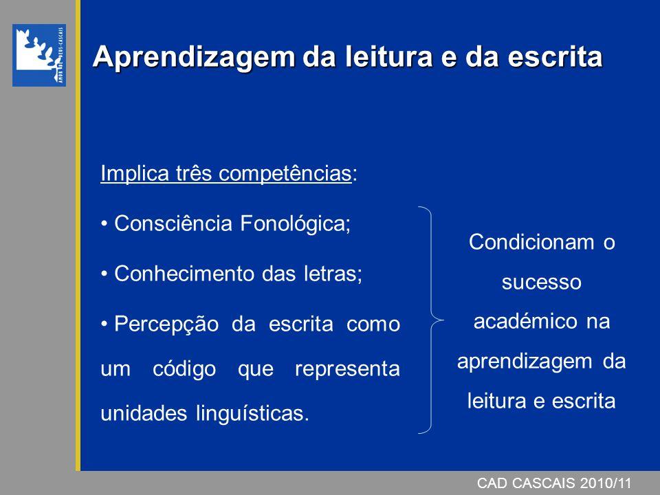 CAD CASCAIS 2007/08 Aprendizagem da leitura e da escrita Implica três competências: Consciência Fonológica; Conhecimento das letras; Percepção da escrita como um código que representa unidades linguísticas.
