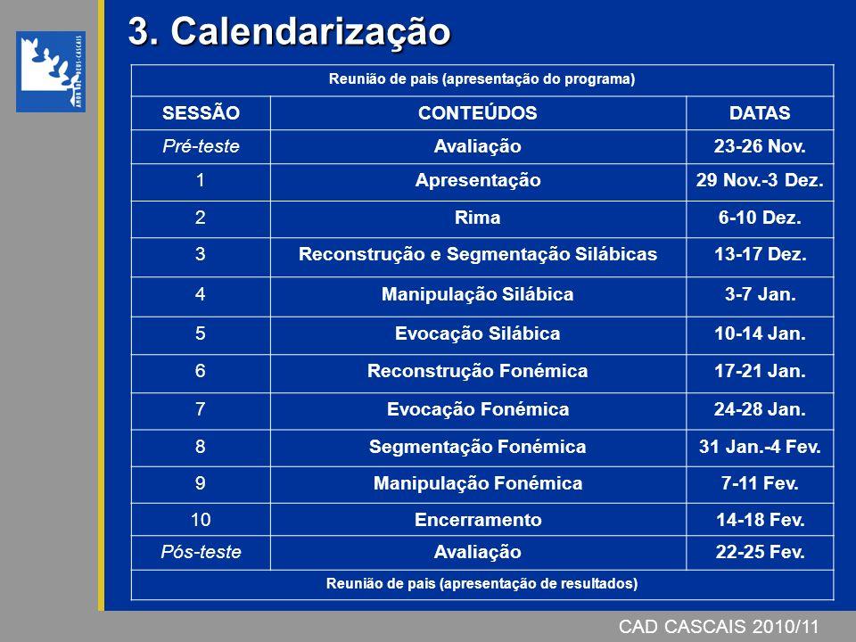 CAD CASCAIS 2007/08 3. Calendarização 3. Calendarização Reunião de pais (apresentação do programa) SESSÃOCONTEÚDOSDATAS Pré-testeAvaliação23-26 Nov. 1